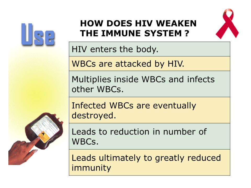 HOW DOES HIV WEAKEN THE IMMUNE SYSTEM . HIV enters the body.