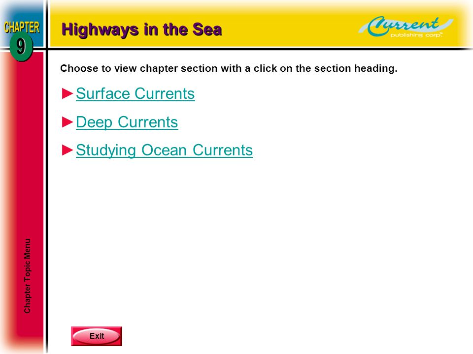 Exit Choose to view chapter section with a click on the section heading. ►Surface CurrentsSurface Currents ►Deep CurrentsDeep Currents ►Studying Ocean