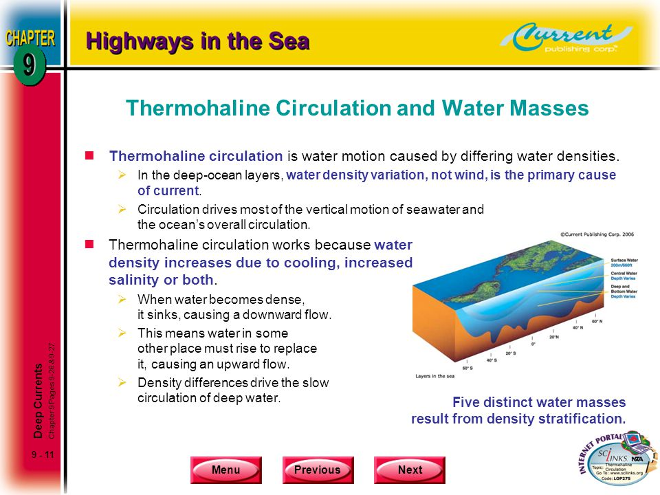 MenuPreviousNext 9 - 11 Thermohaline Circulation and Water Masses nThermohaline circulation is water motion caused by differing water densities.  In