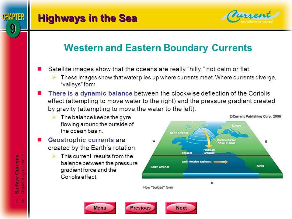 """MenuPreviousNext 9 - 5 Western and Eastern Boundary Currents nSatellite images show that the oceans are really """"hilly,"""" not calm or flat.  These imag"""