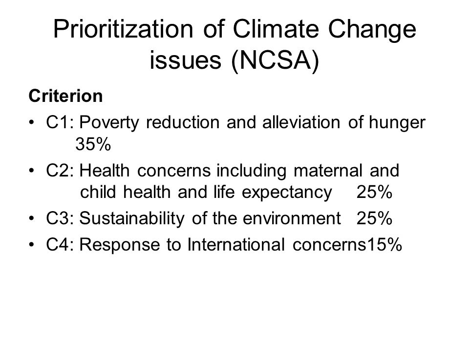 Prioritization of Climate Change issues (NCSA) Criterion C1: Poverty reduction and alleviation of hunger 35% C2: Health concerns including maternal and child health and life expectancy25% C3: Sustainability of the environment25% C4: Response to International concerns15%