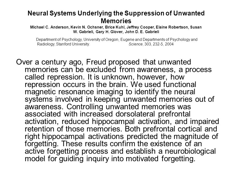 Neural Systems Underlying the Suppression of Unwanted Memories Michael C.