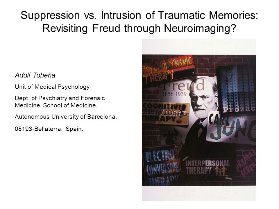 Suppression vs. Intrusion of Traumatic Memories: Revisiting Freud through Neuroimaging.