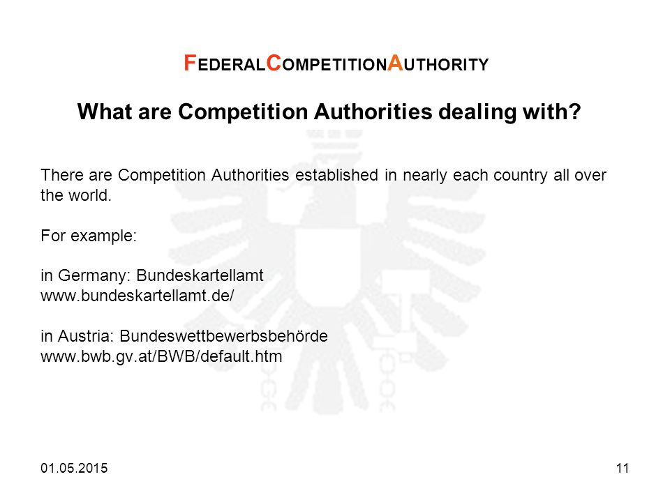 What are Competition Authorities dealing with? There are Competition Authorities established in nearly each country all over the world. For example: i
