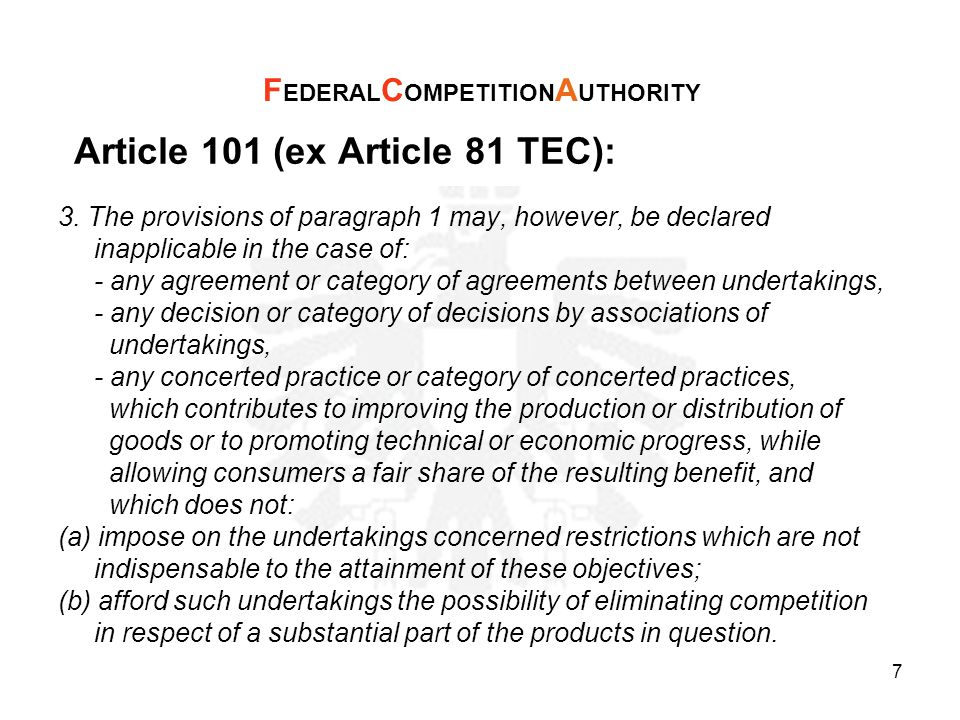 Article 102 (ex Article 82 TEC): Firms in a dominant position may not abuse that position (Article 102 of the Treaty).