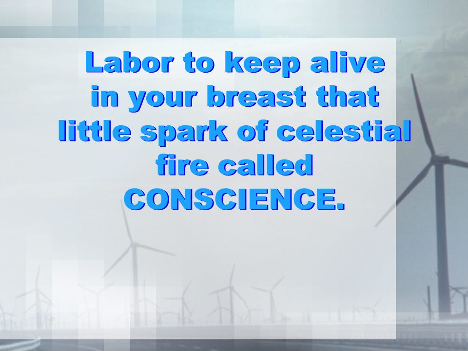 Labor to keep alive in your breast that little spark of celestial fire called CONSCIENCE.
