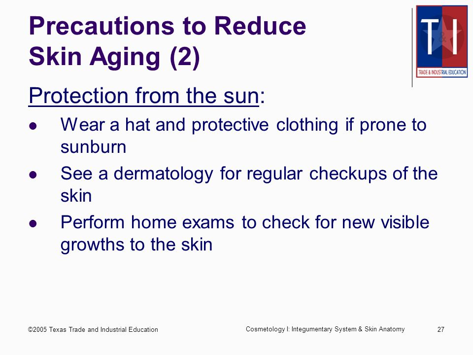©2005 Texas Trade and Industrial Education Cosmetology I: Integumentary System & Skin Anatomy 26 Precautions to Reduce Skin Aging Protection from the sun: Wear a moisturizer or protective lotion with a sunscreen of at least SPF 15 on all areas of potential exposure Avoid exposure to the sun during peak hours: usually between 10:00 a.m.