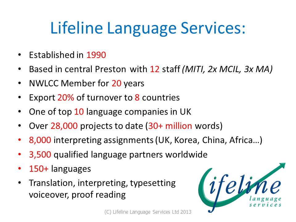 Lifeline Language Services: Established in 1990 Based in central Preston with 12 staff (MITI, 2x MCIL, 3x MA) NWLCC Member for 20 years Export 20% of turnover to 8 countries One of top 10 language companies in UK Over 28,000 projects to date (30+ million words) 8,000 interpreting assignments (UK, Korea, China, Africa…) 3,500 qualified language partners worldwide 150+ languages Translation, interpreting, typesetting voiceover, proof reading (C) Lifeline Language Services Ltd 2013