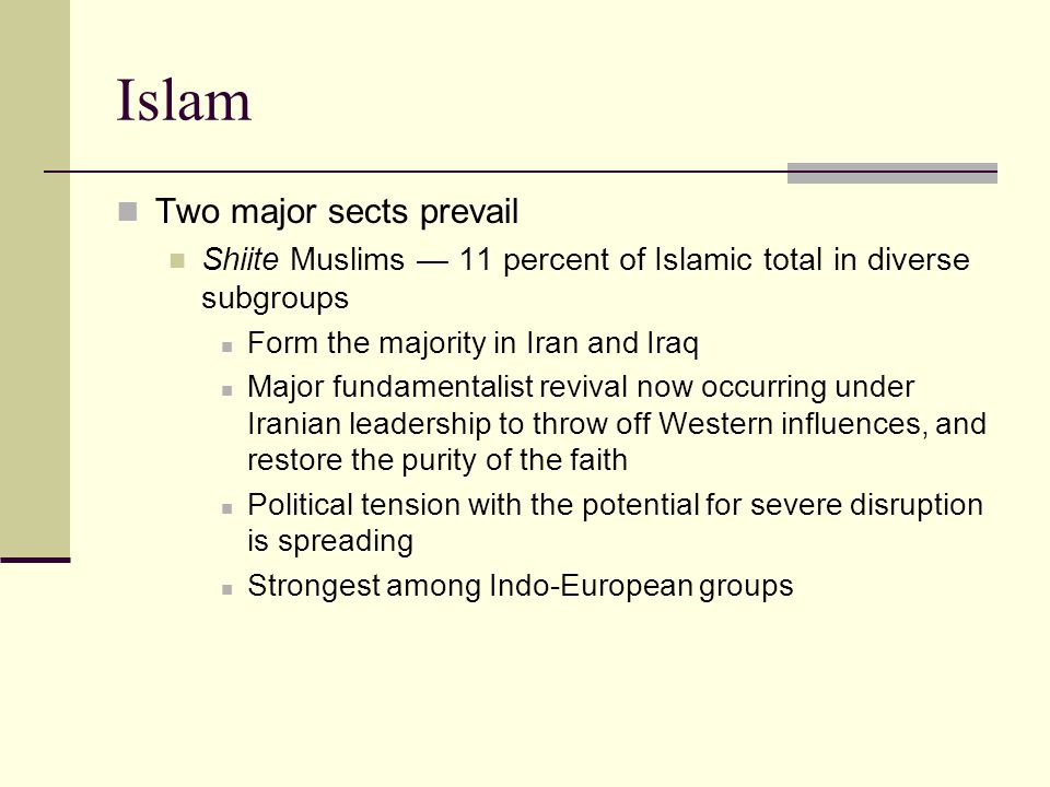 Islam Two major sects prevail Shiite Muslims — 11 percent of Islamic total in diverse subgroups Form the majority in Iran and Iraq Major fundamentalist revival now occurring under Iranian leadership to throw off Western influences, and restore the purity of the faith Political tension with the potential for severe disruption is spreading Strongest among Indo-European groups