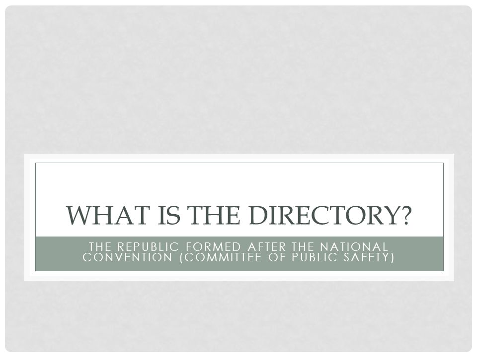WHAT IS THE DIRECTORY.