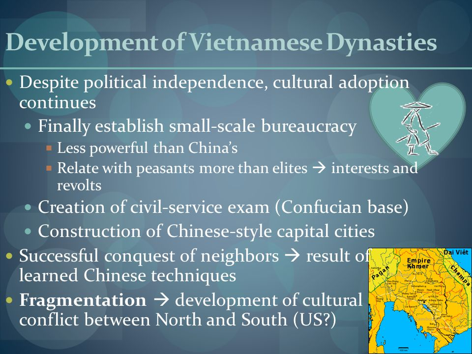 Development of Vietnamese Dynasties Despite political independence, cultural adoption continues Finally establish small-scale bureaucracy  Less powerful than China's  Relate with peasants more than elites  interests and revolts Creation of civil-service exam (Confucian base) Construction of Chinese-style capital cities Successful conquest of neighbors  result of learned Chinese techniques Fragmentation  development of cultural conflict between North and South (US?)