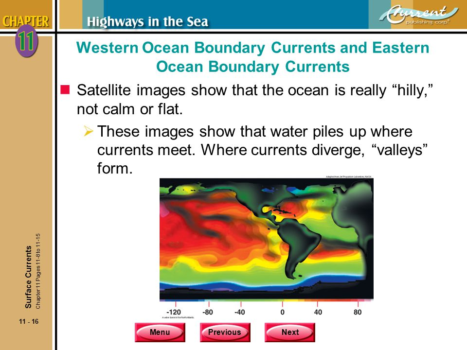 MenuPreviousNext 11 - 16 Western Ocean Boundary Currents and Eastern Ocean Boundary Currents nSatellite images show that the ocean is really hilly, not calm or flat.