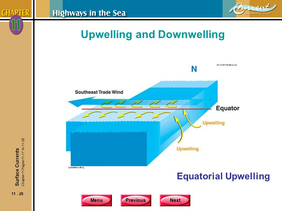MenuPreviousNext 11 - 28 Upwelling and Downwelling Equatorial Upwelling Surface Currents Chapter 11 Pages 11-17 to 11-20