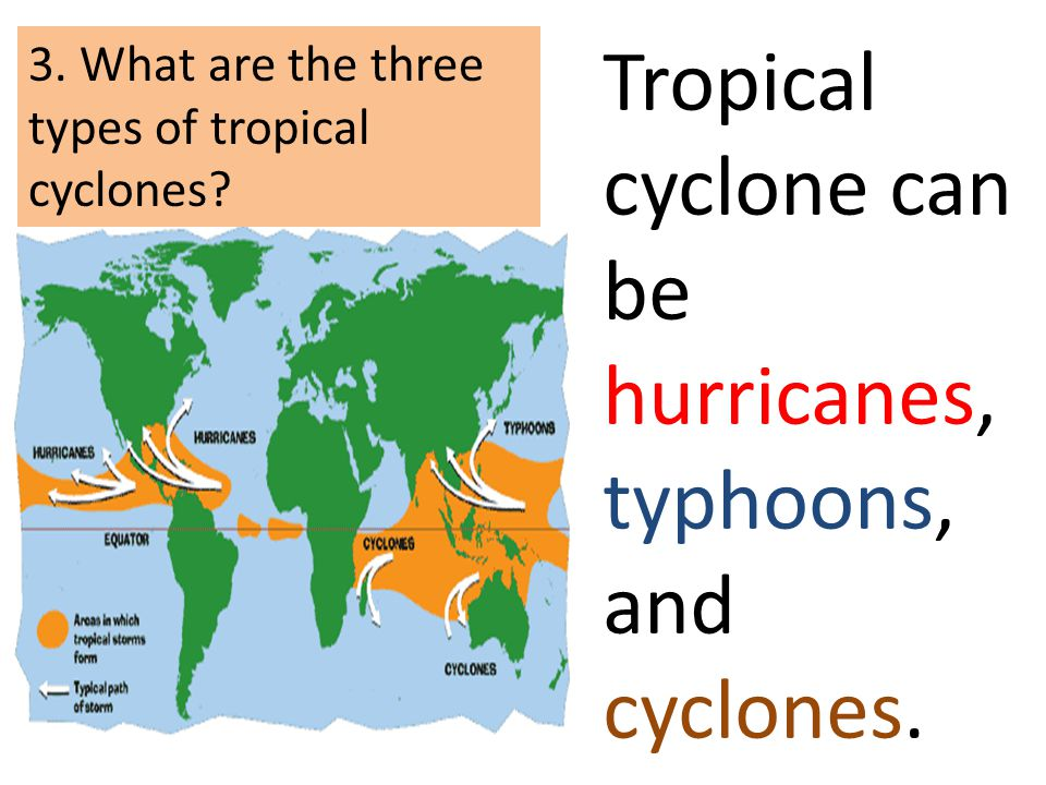 Tropical cyclone can be hurricanes, typhoons, and cyclones. 3. What are the three types of tropical cyclones?