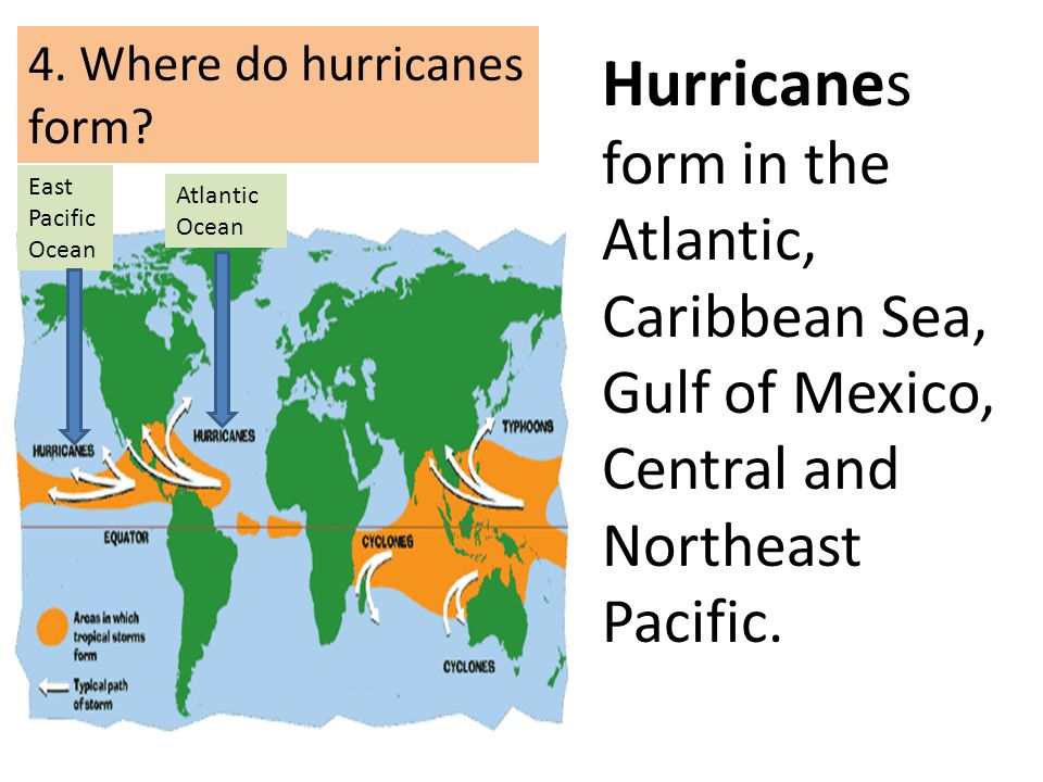 Hurricanes form in the Atlantic, Caribbean Sea, Gulf of Mexico, Central and Northeast Pacific. 4. Where do hurricanes form? East Pacific Ocean Atlanti