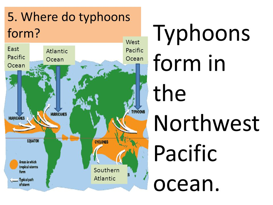 5. Where do typhoons form? West Pacific Ocean East Pacific Ocean Atlantic Ocean Typhoons form in the Northwest Pacific ocean. Southern Atlantic