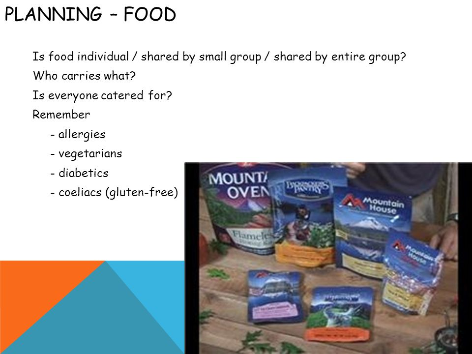 PLANNING – FOOD Is food individual / shared by small group / shared by entire group.