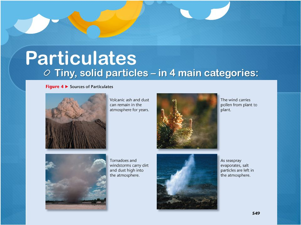 Tiny, solid particles – in 4 main categories: Particulates