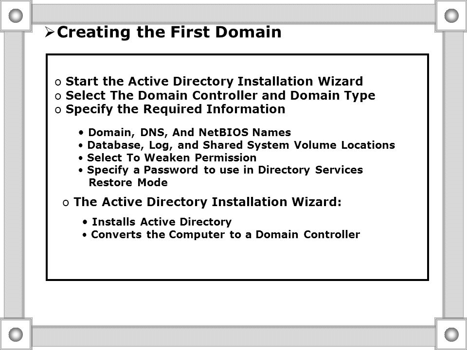 Preparing to Install Active Directory Active Directory Installation Requirements Computer Running Windows 2000 Server, Window 2000 Advance Server, Or