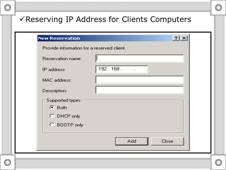  Customizing the Use of Scope Option Scope Options Server Level Scope Level Class Level Reserved Client Level