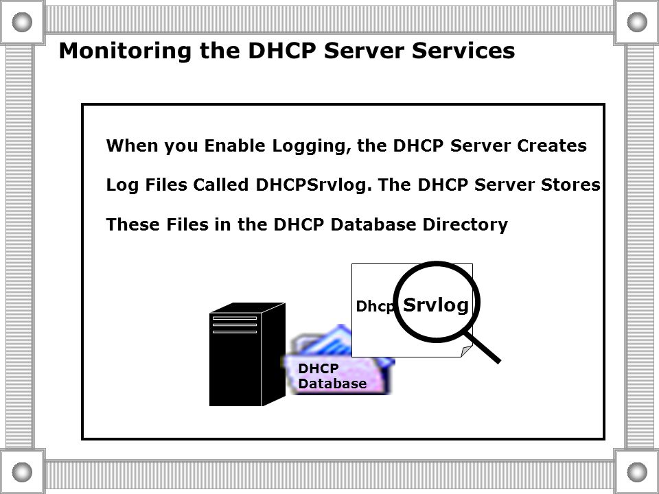 Supporting DHCP  Monitoring the DHCP Server Services  Troubleshooting DHCP Database Problems  Removing A DHCP Server from service