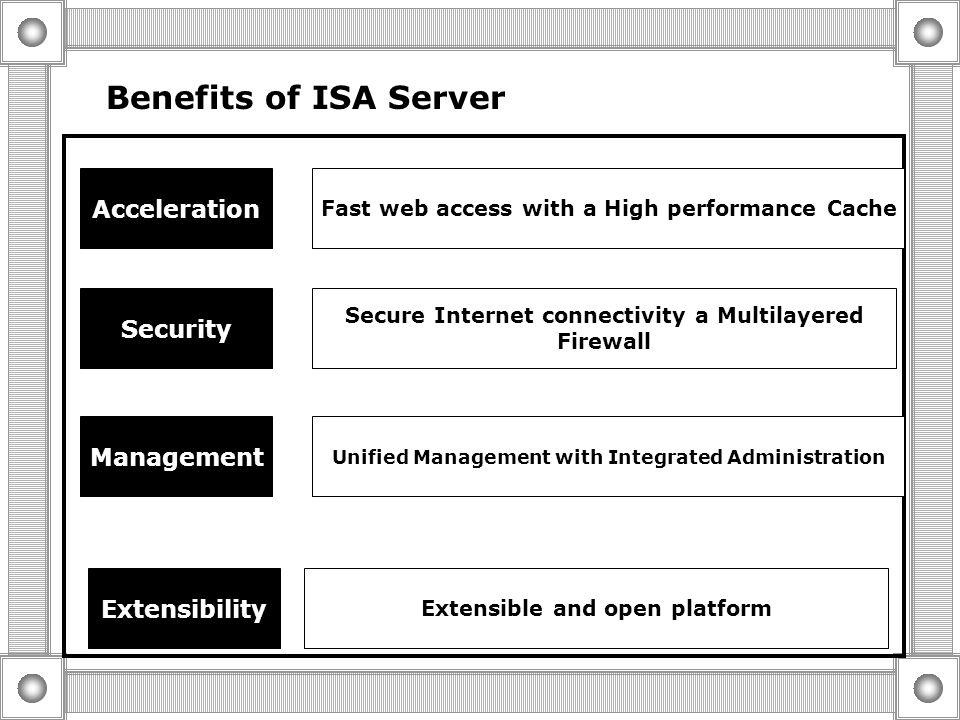 o ISA Server Editions  ISA Server Standard Edition  ISA Server Enterprise edition