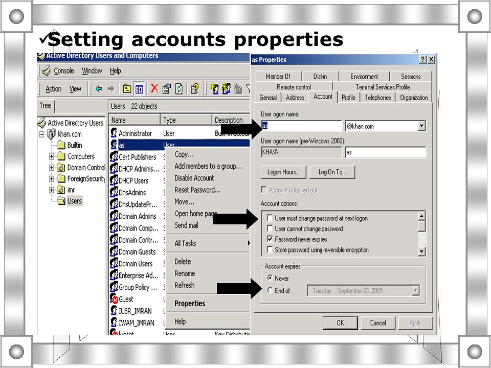 Setting personal properties  Add personal information about users As store in active directory  use personal properties to search Active directory