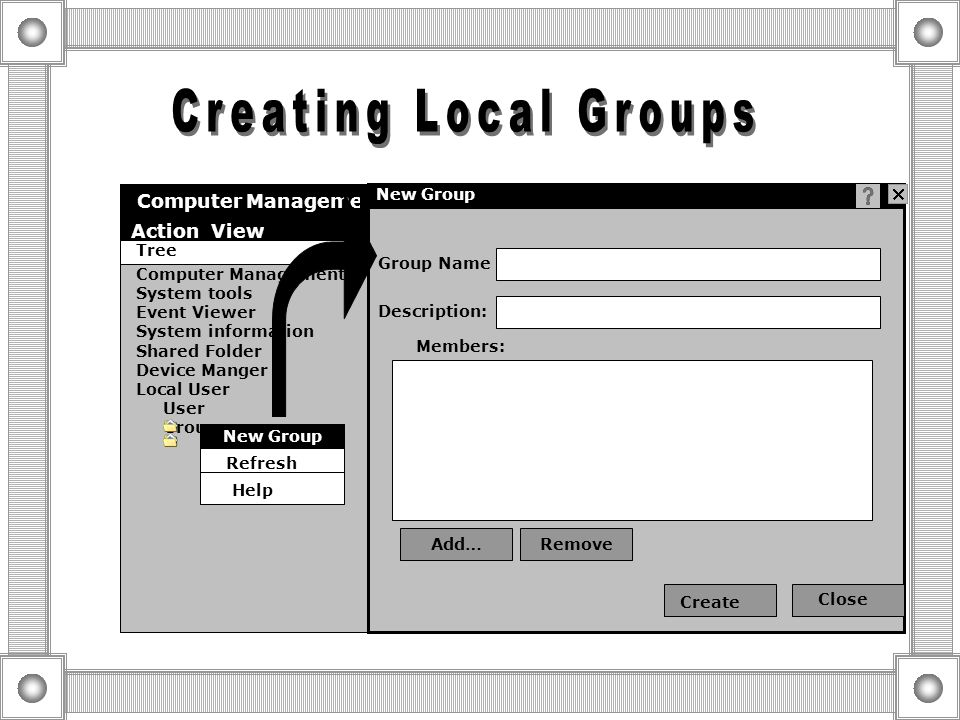 A L P A L P A L P A L P Add Assign Win 2000 professional Win 2000 professional Win 2000 professional Win 2000 Server User Account A Local Group L Perm