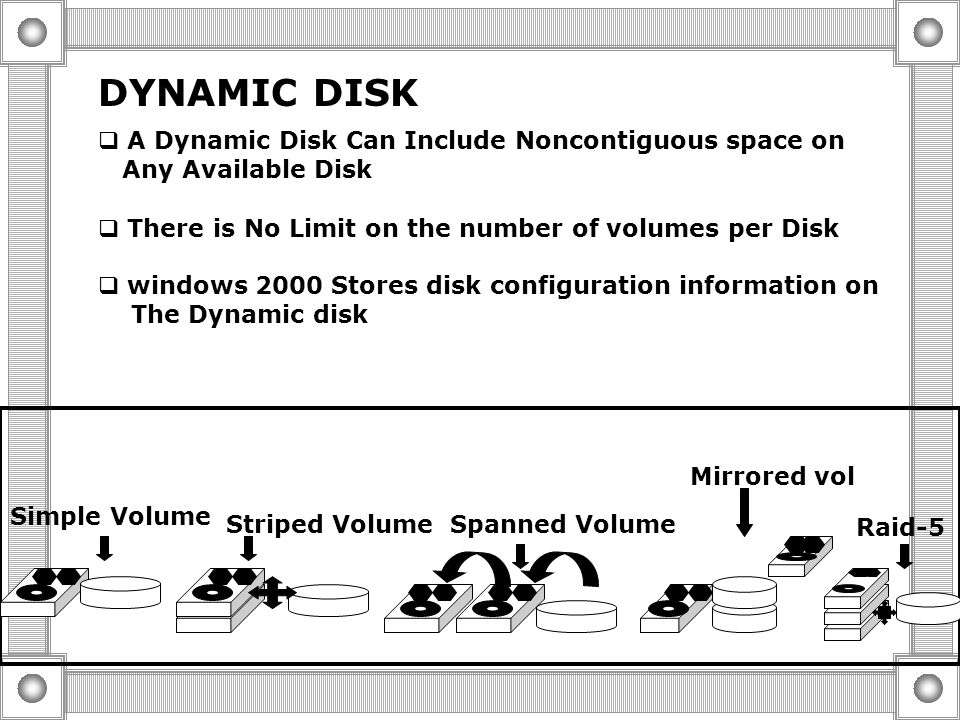 BASIC DISK F E D C G F E D C OR PRIMARY PARTITIONS EXTENDED PARTITION WITH LOGICAL DRIVES  A Basic is the default storage medium for Windows 2000  t