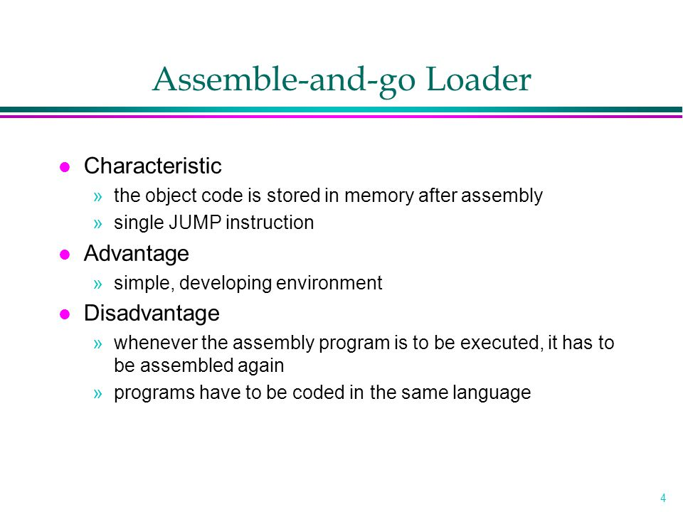 5 Design of an Absolute Loader l Absolute Loader »Advantage –Simple and efficient »Disadvantage –the need for programmer to specify the actual address –difficult to use subroutine libraries l Program Logic »Next slice