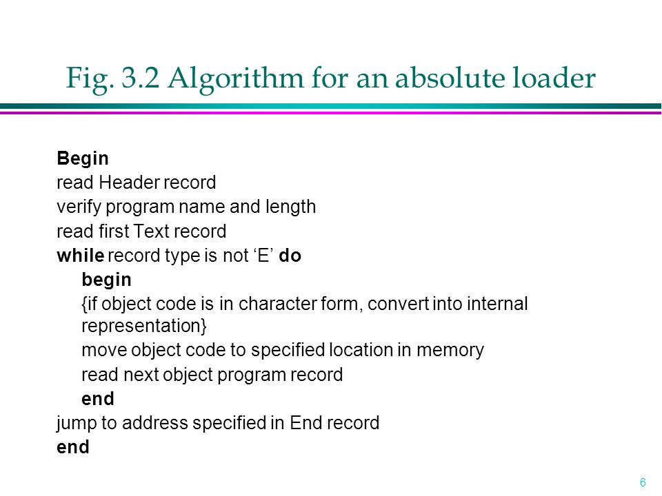 6 Fig. 3.2 Algorithm for an absolute loader Begin read Header record verify program name and length read first Text record while record type is not 'E