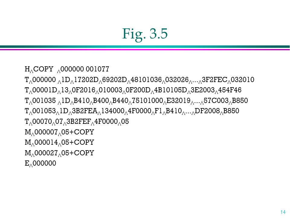 14 Fig. 3.5 H  COPY  000000 001077 T  000000  1D  17202D  69202D  48101036  032026 ...  3F2FEC  032010 T  00001D  13  0F2016  010003 