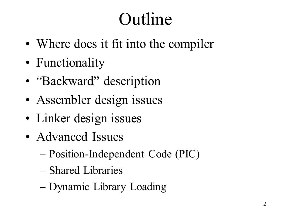 Microsoft Dynamic Libraries (DLL) Similar to ELF Somewhat simpler Require compiler support to address dynamic libraries Programs and DLL are Portable Executable (PE) Each application has it own address Supports lazy bindings 33