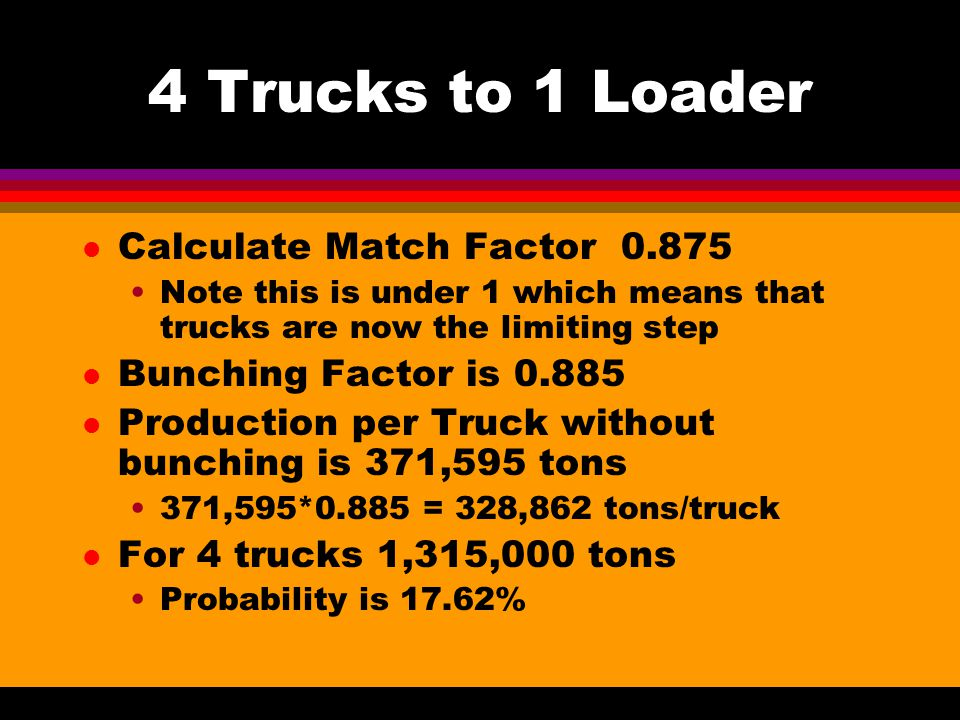 4 Trucks to 1 Loader l Calculate Match Factor 0.875 Note this is under 1 which means that trucks are now the limiting step l Bunching Factor is 0.885 l Production per Truck without bunching is 371,595 tons 371,595*0.885 = 328,862 tons/truck l For 4 trucks 1,315,000 tons Probability is 17.62%