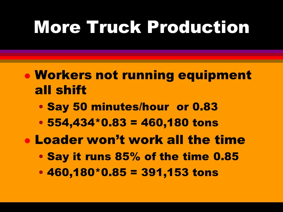 5 Trucks to One Loader l Match Factor 5*2.8/(1*12.8) = 1.09375 Still over-trucked ie the loader is the limit to which bunching is applied l Bunching Factor is 0.886 Note that as # trucks went down the chances that one would be waiting went down Production Loader Full Production 1.998 Million tons * 0.886 = 1.771 Million tons l Probability is 39.93%