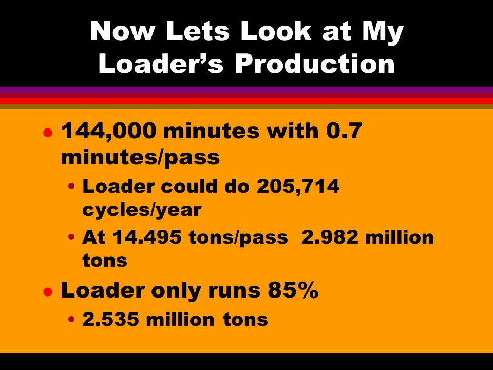 Now Lets Look at My Loader's Production l 144,000 minutes with 0.7 minutes/pass Loader could do 205,714 cycles/year At 14.495 tons/pass 2.982 million tons l Loader only runs 85% 2.535 million tons