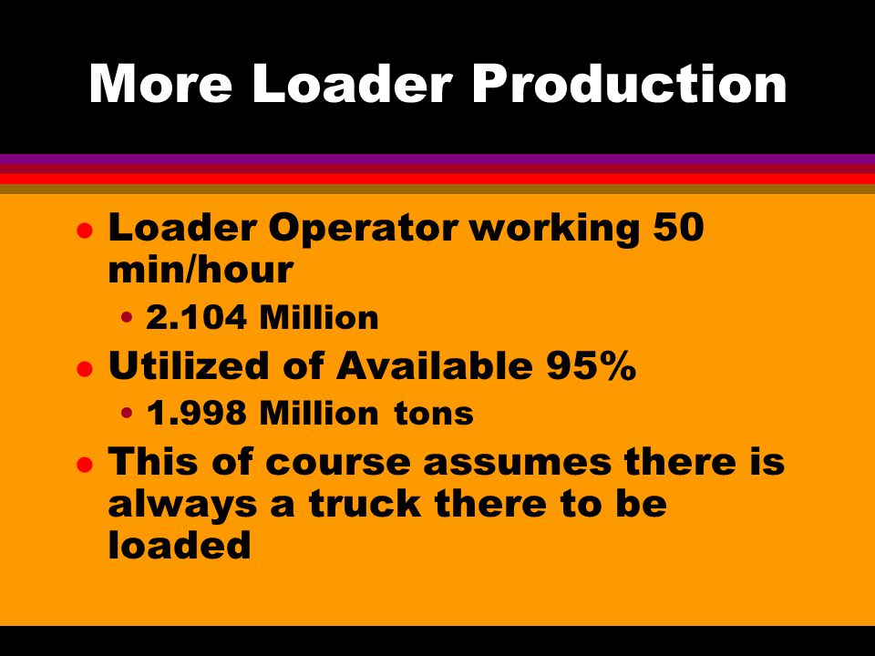More Loader Production l Loader Operator working 50 min/hour 2.104 Million l Utilized of Available 95% 1.998 Million tons l This of course assumes there is always a truck there to be loaded
