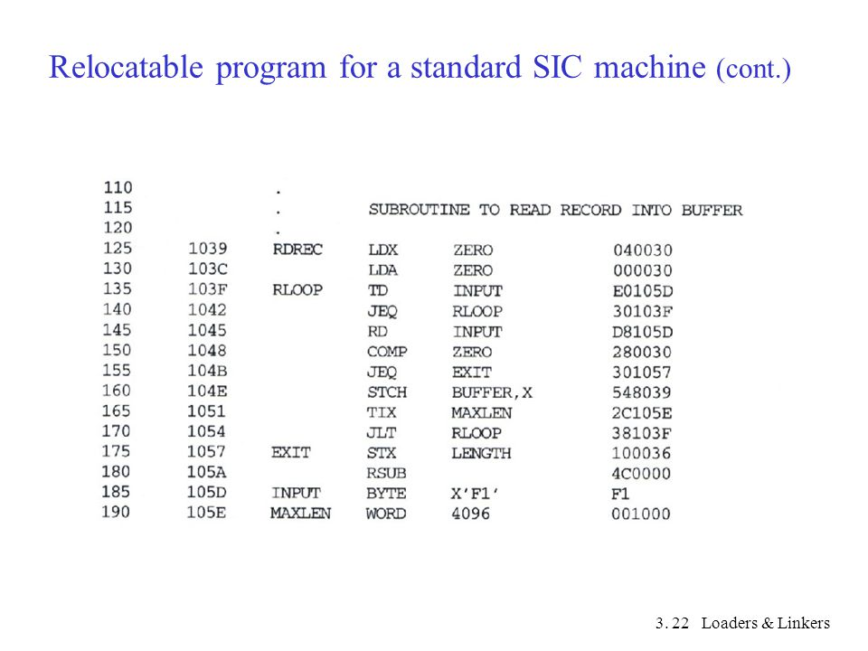 3. Loaders & Linkers22 Relocatable program for a standard SIC machine (cont.)
