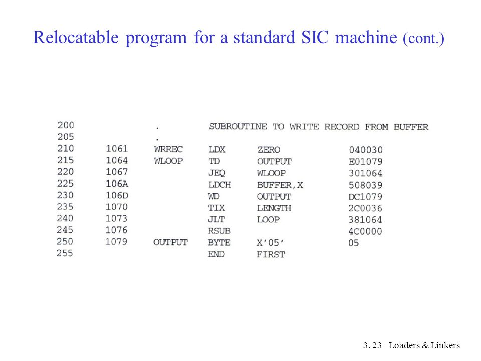 3. Loaders & Linkers23 Relocatable program for a standard SIC machine (cont.)