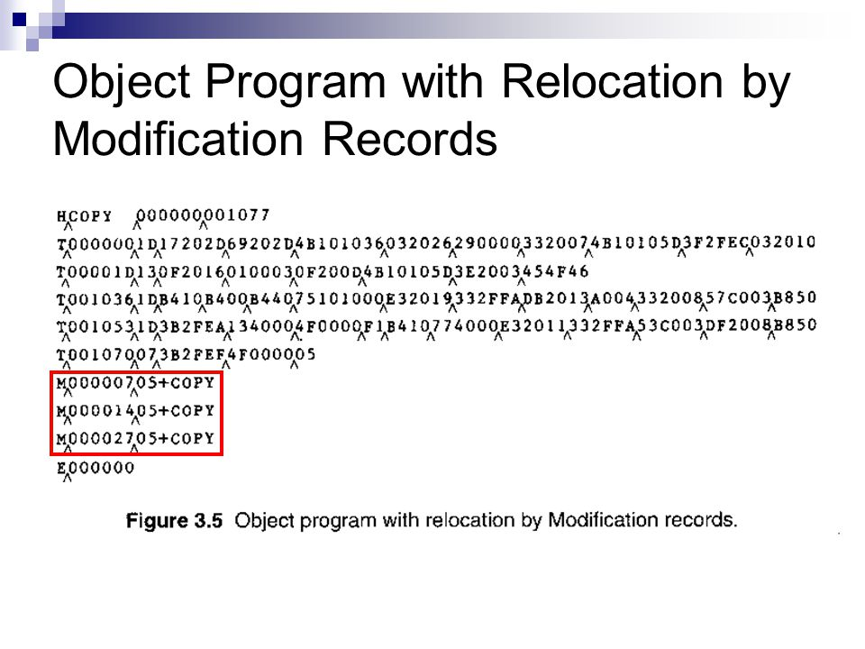 Object Program with Relocation by Modification Records