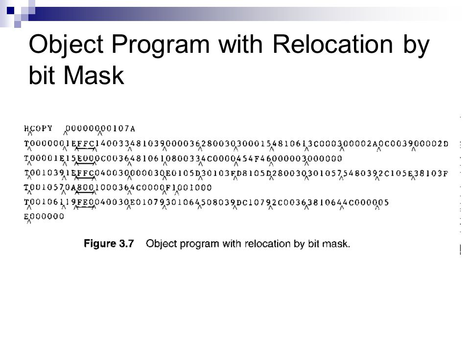 Object Program with Relocation by bit Mask