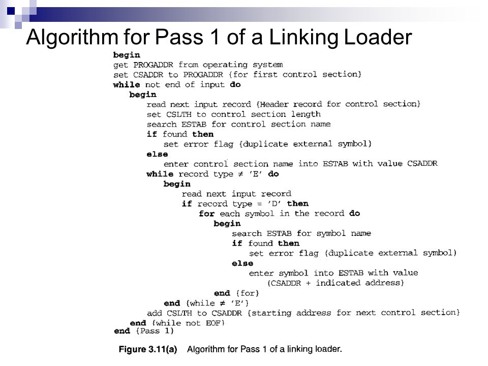 Algorithm for Pass 1 of a Linking Loader