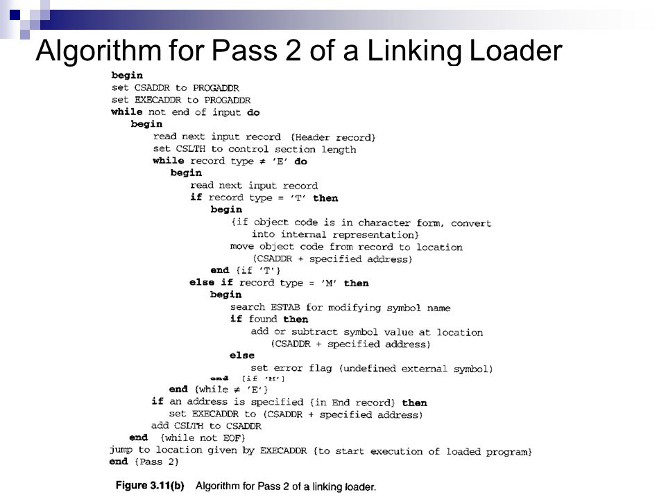 Algorithm for Pass 2 of a Linking Loader