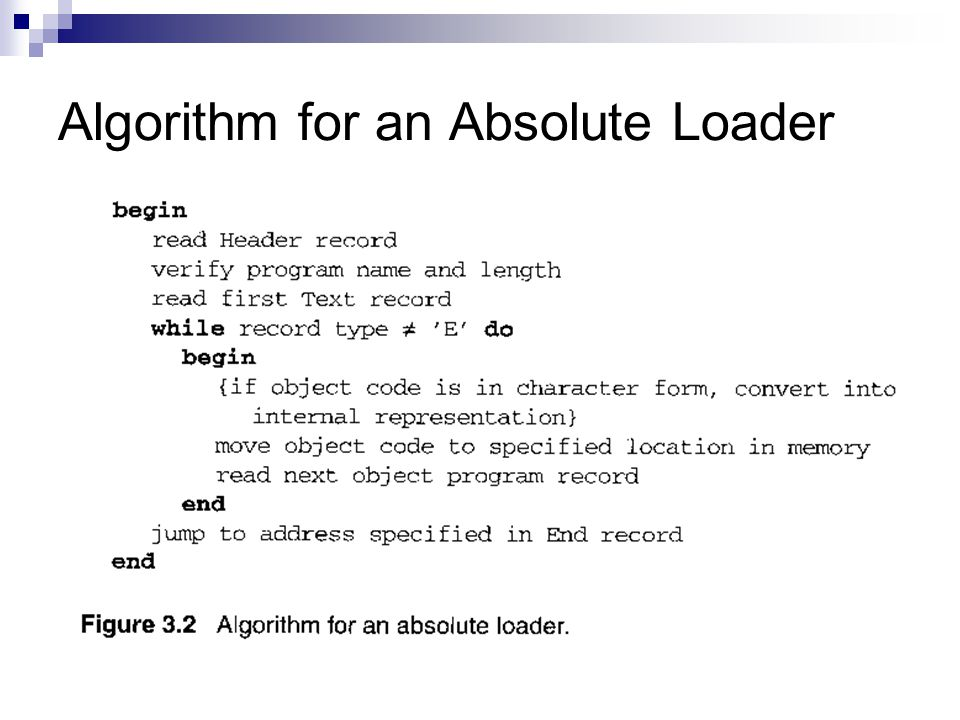 Algorithm for an Absolute Loader