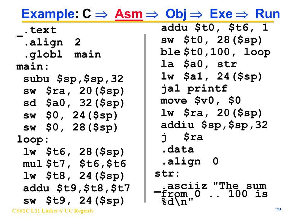 CS61C L11 Linker © UC Regents 29 Example: C  Asm  Obj  Exe  Run.text.align2.globlmain main: subu $sp,$sp,32 sw$ra, 20($sp) sd$a0, 32($sp) sw$0, 24($sp) sw$0, 28($sp) loop: lw$t6, 28($sp) mul$t7, $t6,$t6 lw$t8, 24($sp) addu $t9,$t8,$t7 sw$t9, 24($sp) addu $t0, $t6, 1 sw$t0, 28($sp) ble$t0,100, loop la$a0, str lw$a1, 24($sp) jal printf move $v0, $0 lw$ra, 20($sp) addiu $sp,$sp,32 j$ra.data.align0 str:.asciiz The sum from 0..