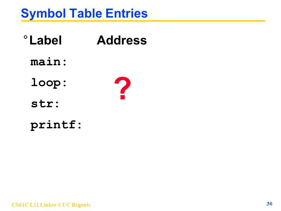 CS61C L11 Linker © UC Regents 30 Symbol Table Entries °Label Address main: loop: str: printf: