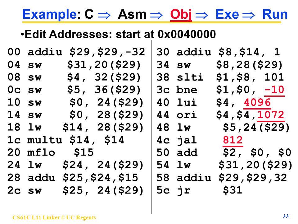 CS61C L11 Linker © UC Regents 33 Example: C  Asm  Obj  Exe  Run 00 addiu $29,$29,-32 04 sw$31,20($29) 08 sw$4, 32($29) 0c sw$5, 36($29) 10 sw $0, 24($29) 14 sw $0, 28($29) 18 lw $14, 28($29) 1c multu $14, $14 20 mflo $15 24 lw $24, 24($29) 28 addu $25,$24,$15 2c sw $25, 24($29) 30 addiu $8,$14, 1 34 sw$8,28($29) 38 slti$1,$8, 101 3c bne$1,$0, -10 40 lui$4, 4096 44 ori$4,$4,1072 48 lw $5,24($29) 4c jal 812 50 add $2, $0, $0 54 lw $31,20($29) 58 addiu $29,$29,32 5c jr $31 Edit Addresses: start at 0x0040000
