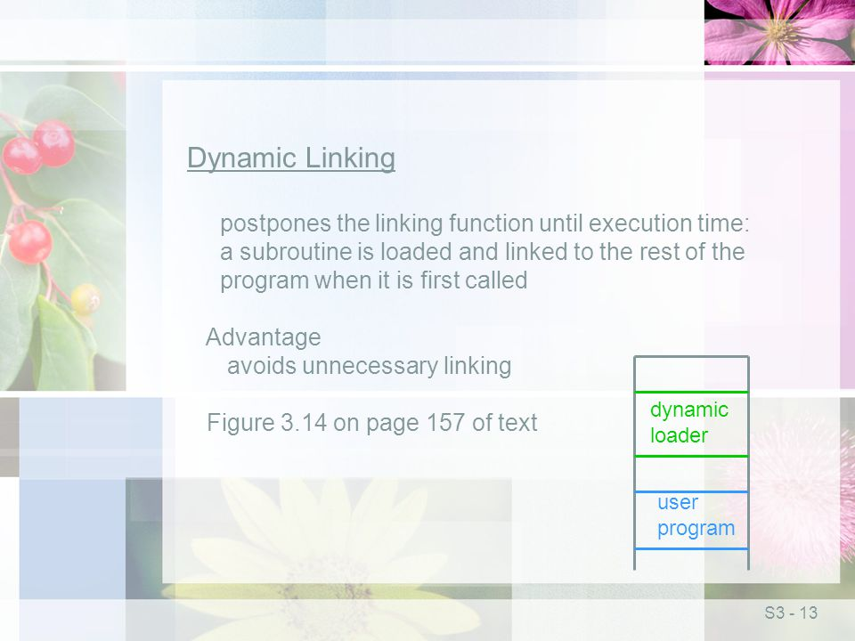 S3 - 13 Dynamic Linking postpones the linking function until execution time: a subroutine is loaded and linked to the rest of the program when it is first called Advantage avoids unnecessary linking Figure 3.14 on page 157 of text dynamic loader user program