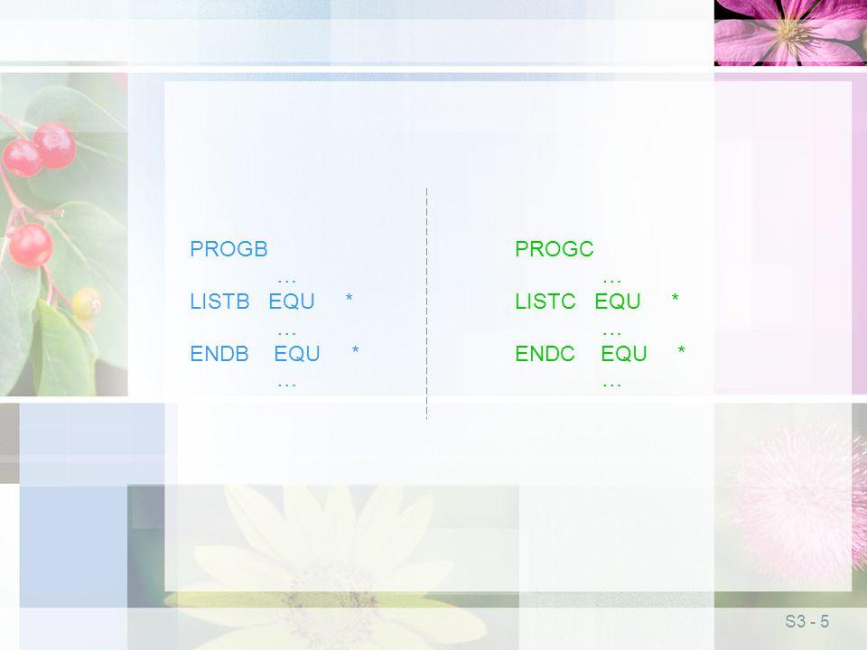 S3 - 5 PROGB … LISTB EQU * … ENDB EQU * … PROGC … LISTC EQU * … ENDC EQU * …