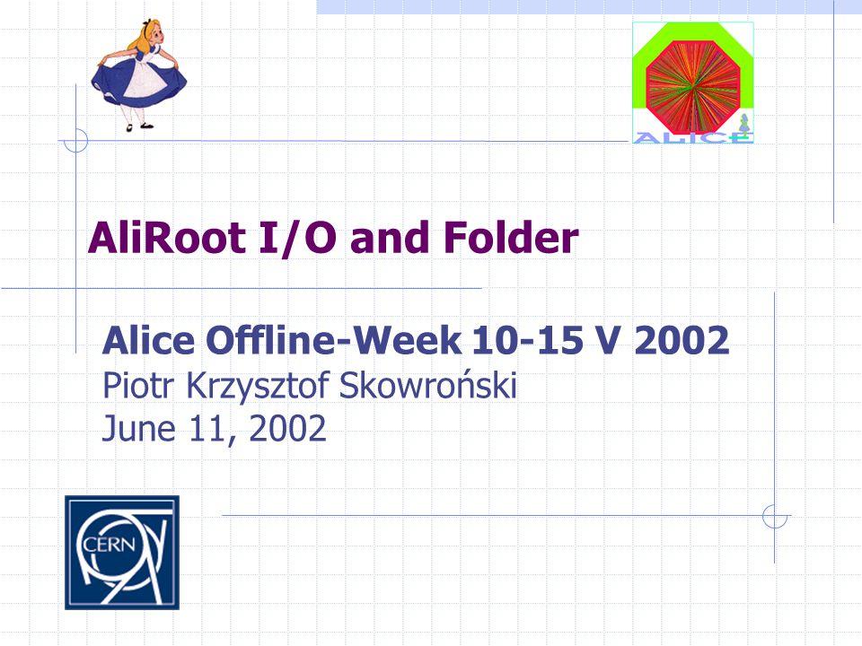 AliRoot I/O and Folder Alice Offline-Week 10-15 V 2002 Piotr Krzysztof Skowroński June 11, 2002